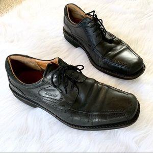 Ecco Black Leather Apron Toe Oxford Dress Shoes